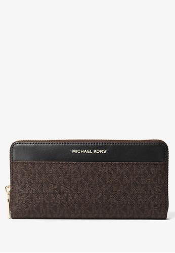 Michael Kors brown Michael Kors Logo Continental Wallet - Dark Brown/Black 3B844ACCFEF621GS_1