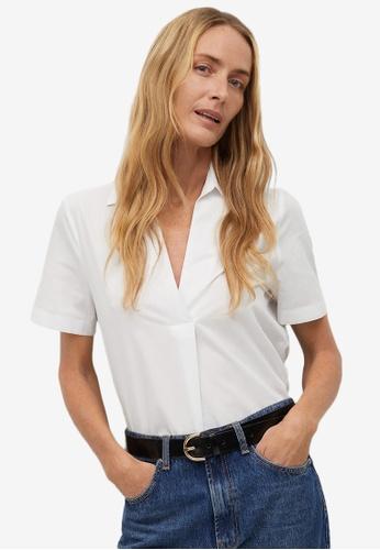 Mango white Organic Cotton Shirt C81DBAACA7AA76GS_1