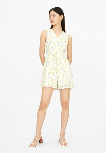 Pomelo white Floral V Neck Front Tied Romper - White 5EA76AA21CE85EGS_1