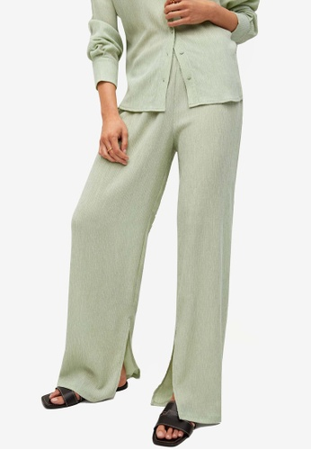 Mango green Straight Lyocell Trousers EF095AA98F72DDGS_1