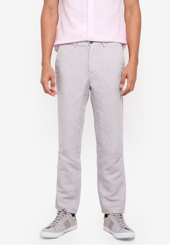 Burton Menswear London grey Grey Slim Fit Linen Trousers 892C1AA2F15248GS_1