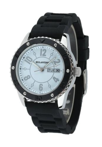 EGLANTINE silver EGLANTINE® Vanessa Ladies Steel Quartz Watch White Dial on Black Rubber Strap 3D4C2ACBCDD1A4GS_1