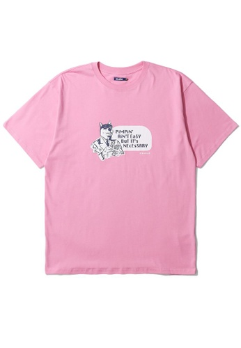 BLOCKAIT pink Akita Ken Ain't Easy tee DEF4CAAAD3775DGS_1
