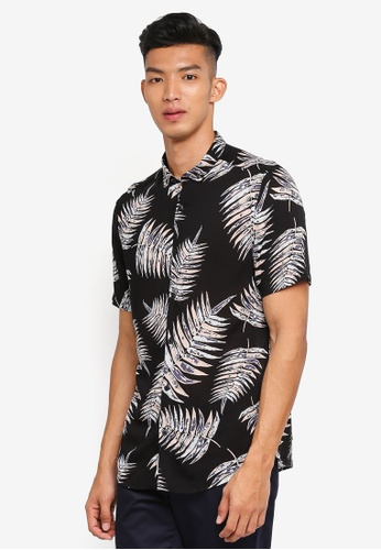 River Island black Fern Print Revere Shirt 904ADAABB66038GS_1