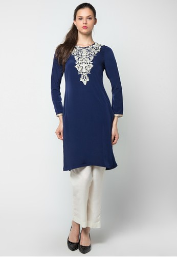Chanira Festive Collection navy Rameen Embroidered Long Tunic CH354AA50BIZID_1