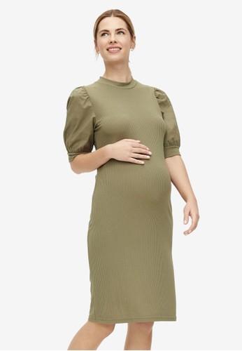 Mama.licious green Maternity Mlfreja 2/4 Jersey Above Knee Mix Dress E6F0AAADCA7DCDGS_1