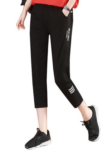 A-IN GIRLS black Elastic Waist Casual Trousers 8E6D9AA945A32BGS_1