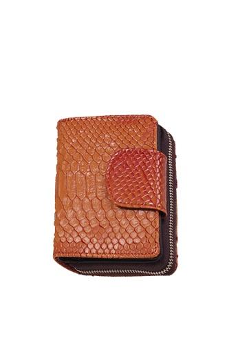 Twenty Eight Shoes brown VANSA Serpentine Pattern Embossed Cow Leather Bi-Fold Wallet VBW-Wt60303 E2806ACFDF6F11GS_1