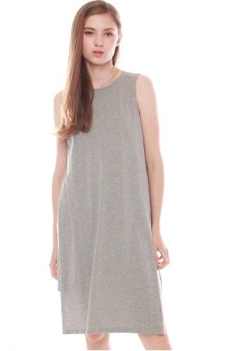 JOVET grey Side Slit Dress 63B79AA9C000A7GS_1