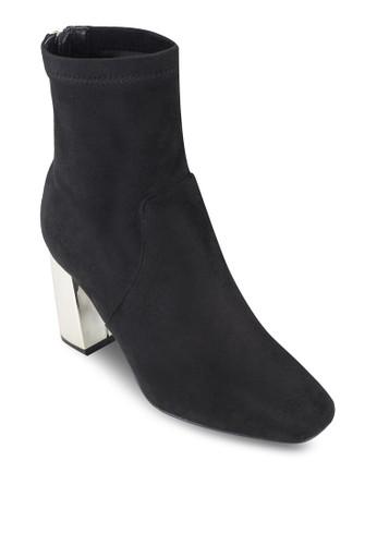 金屬粗跟esprit童裝門市高跟後拉鍊短靴, 女鞋, 鞋