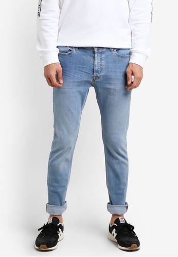 Topman blue Vintage Wash Blue Stretch Slim Jeans TO413AA0R9T1MY_1