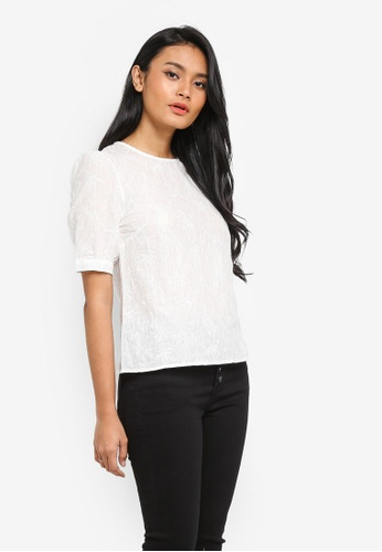 WAREHOUSE white Embroidered Puff Sleeve Top F6410AA3C00D57GS_1