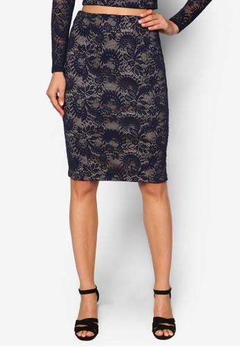 Premium 蕾絲暗紋鉛筆短裙、 服飾、 裙子ZALORAPremium蕾絲暗紋鉛筆短裙最新折價