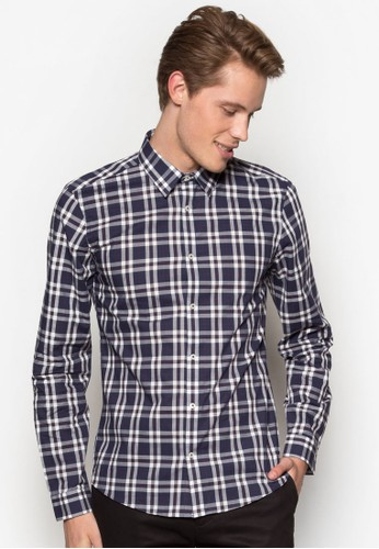 格紋長袖esprit hk分店襯衫, 服飾, 服飾