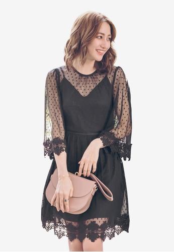 Yoco black Swiss Dot Lace Dress F9772AA6AA9464GS_1