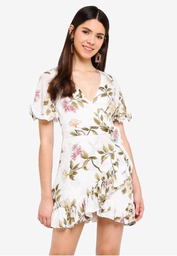 INDIKAH white Short Puff Sleeve Ruffle Hem Dress 5688EAAACFD80DGS_1