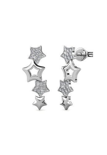 Her Jewellery silver 4 Stars Earrings(White Gold)  -  Embellished with Crystals from Swarovski® DDDF1AC338A9E2GS_1