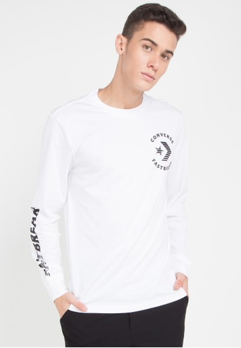 Converse white Fast Break Long Sleeve T-Shirt 19354AAD9EB426GS_1