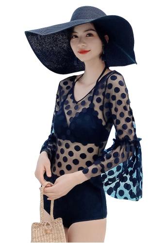 A-IN GIRLS black Sexy Gauze Polka Dot One-Piece Bikini Swimsuit 519F1US8187B8AGS_1