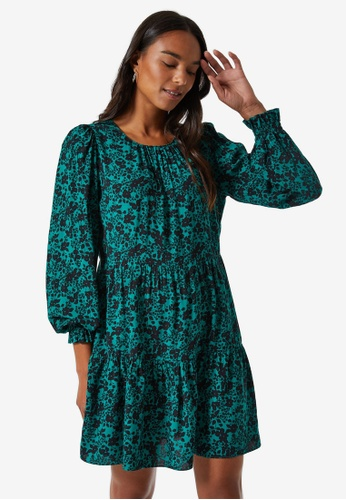 Dorothy Perkins green Green Ditsy Floral Swing Dress 35A85AA3FDF34CGS_1