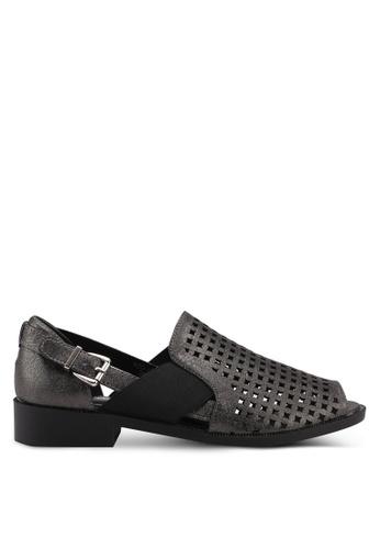 Noveni black Perforated Sandals E654CSHAAE7C37GS_1