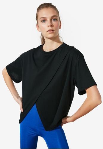 Trendyol black Overlap Front T-Shirt 252FBAA21817EEGS_1