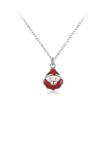 Glamorousky silver Fashion Simple Red Santa Pendant with Necklace 4A7D6AC525F5D0GS_1