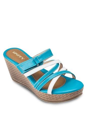 雙色露趾厚esprit 童裝底楔型鞋, 女鞋, 鞋
