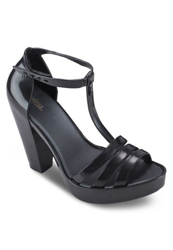 Dreamy T 字多帶粗跟zalora時尚購物網評價高跟涼鞋, 女鞋, 鞋