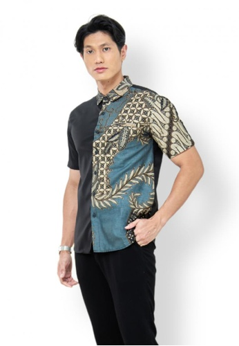 ROSSA COLLECTIONS black and brown and beige and bronze Batik Swastika in Slate Grey for Men 7D564AAB227430GS_1