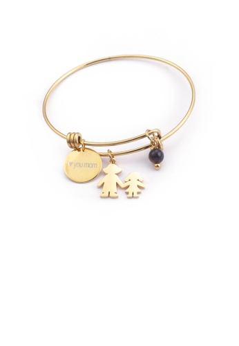 Glamorousky silver Simple and Fashion Plated Gold Geometric Round Mother and Daughter Cartoon Characters 316L Stainless Steel Bangle B03BDAC7769397GS_1