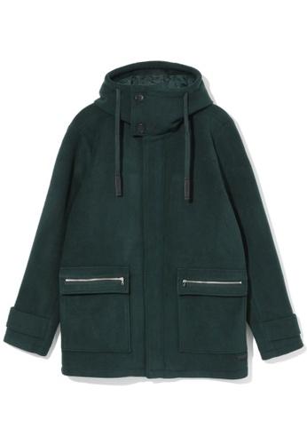 izzue green Hooded fleece coat 245EBAA071BBE8GS_1