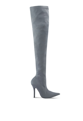Public Desire grey Refuge Over The Knee Boots PU378SH0SIP4MY_1