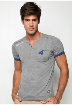 Slim Fit Henley Neck Tee with Pocket