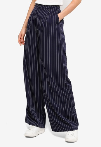 ZALORA BASICS multi and navy Basic Wide Leg Tailored Pants 3329FAAE740E72GS_1
