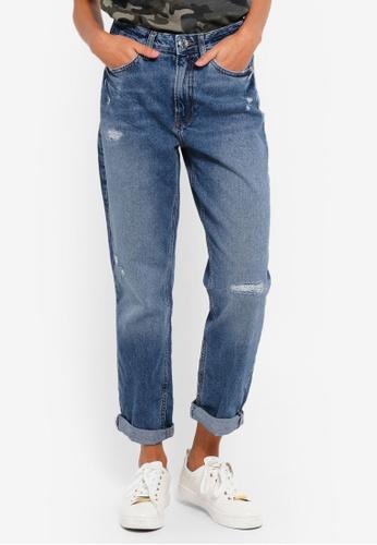 River Island blue Mom Ripped Denim Jeans 3A4DEAAD17A49BGS_1
