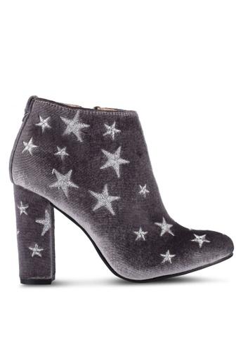 ZALORA 灰色 Stars 刺繡 踝靴 46E4FZZ2DFB7D3GS_1