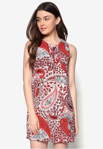 繫帶V 領zalora 包包 ptt印花連身裙, 服飾, 服飾