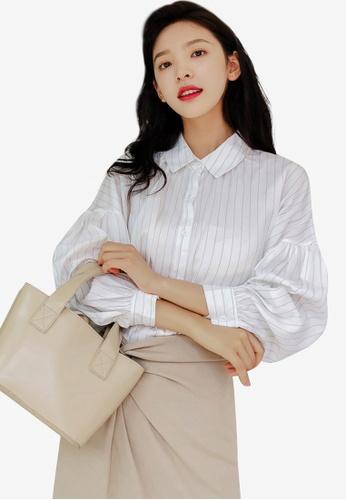 Shopsfashion 米褐色 Pleated Shirt DCA06AACB2F547GS_1