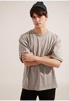 【ZALORA】 韓系必備。透氣純棉。寬版短袖圓領T-MIT-03739-麻灰色