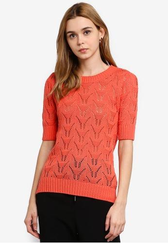 Vero Moda 橘色 針織上衣 42110AA14DF5A7GS_1
