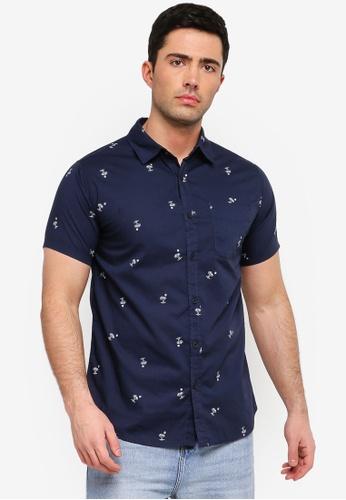 Cotton On 海軍藍色 復古短袖襯衫 B453EAA1818F75GS_1