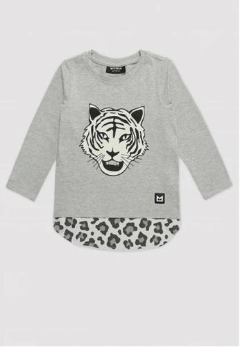 Ribbons+Wheels grey Minikid Long Sleeve White Tiger T-shirt FD883KAA3D1A7EGS_1
