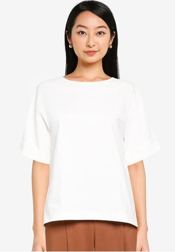 GLOBAL WORK white Hi-Lo T-Shirt 3F99EAA82F2D2FGS_1
