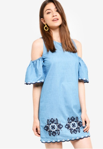 Something Borrowed blue Scallop Embroidery Shift Dress 3C899AA7022F82GS_1