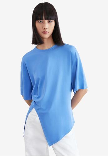 URBAN REVIVO blue Asymmetric T-Shirt 45C6EAA79D571EGS_1