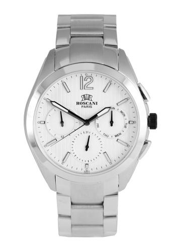 Roscani silver Roscani Prince 974 (Multifunction + WR 5ATM) Stainless Steel White Bracelet Men Watch 7743AAC70866FFGS_1