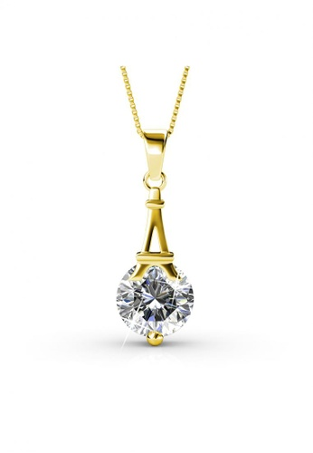 Her Jewellery gold Paris Pendant (Yellow Gold) - Made with Premium grade crystals from Austria 71D8FACB1A1677GS_1