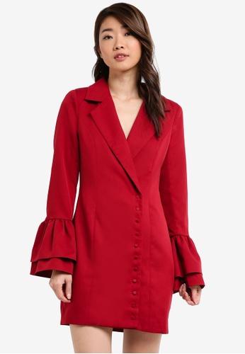 MISSGUIDED red Frill Sleeve Blazer Dress BD1D3AABC580D4GS_1