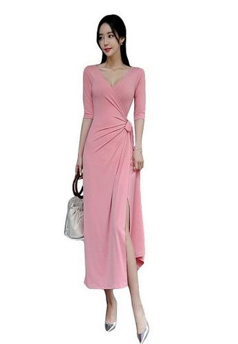 Crystal Korea Fashion pink Sexy Low-cut Split Dress AF338AA777FFA7GS_1